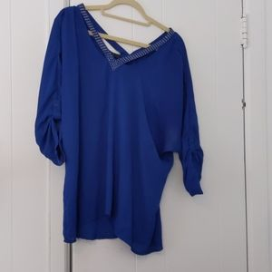 Blue wide neck studded blouse